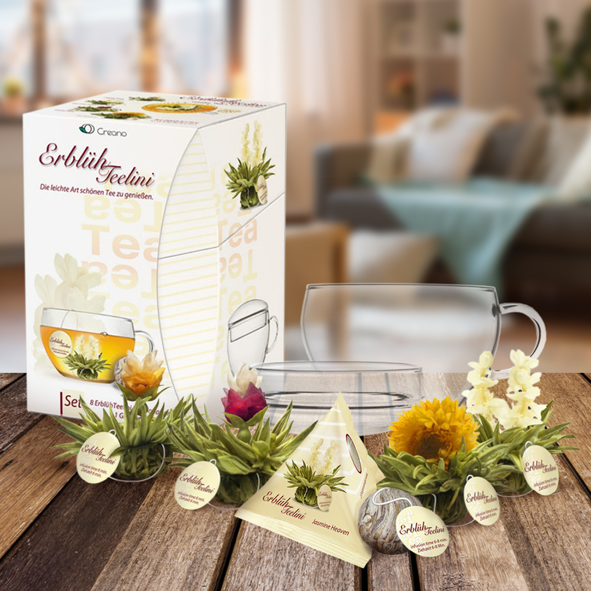 Weiße Erblüh-Teelini mit Tasse
