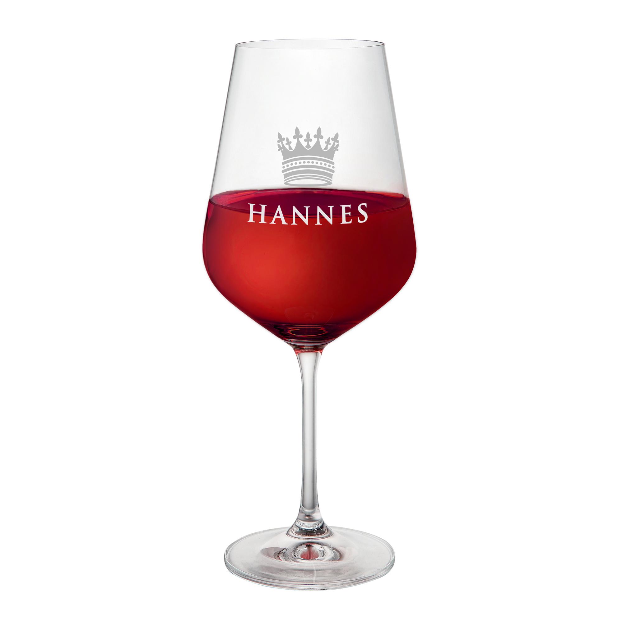 Weinglas mit Gravur - große Krone - personalisiert