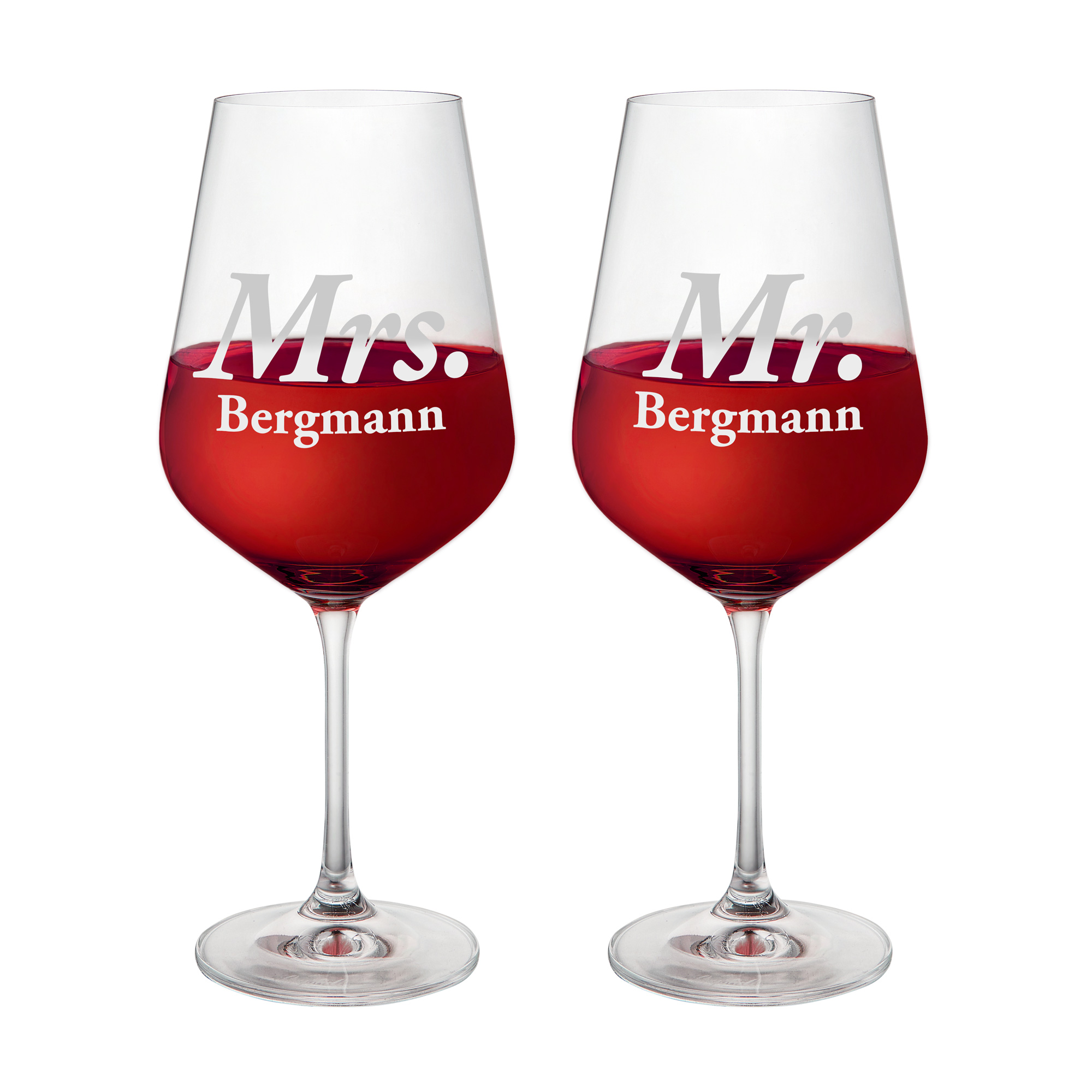 2er Set Weingläser mit Gravur zur Hochzeit - Mr & Mrs - personalisiert