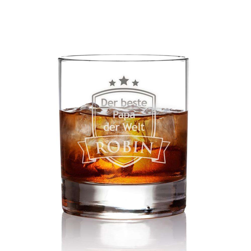 Whiskyglas mit Gravur für Papa - Wappen - personalisiert