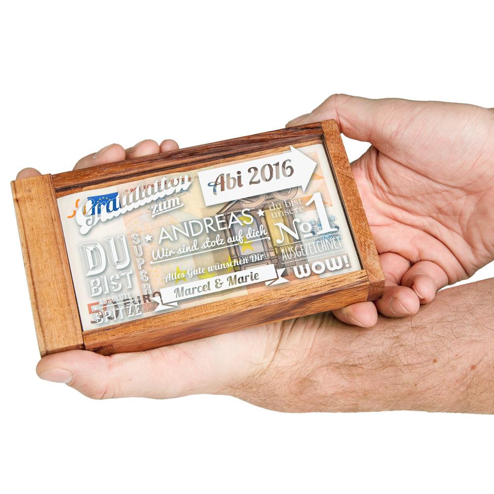 Magische Geldgeschenkbox zum Abitur - Typographie - Personalisiert