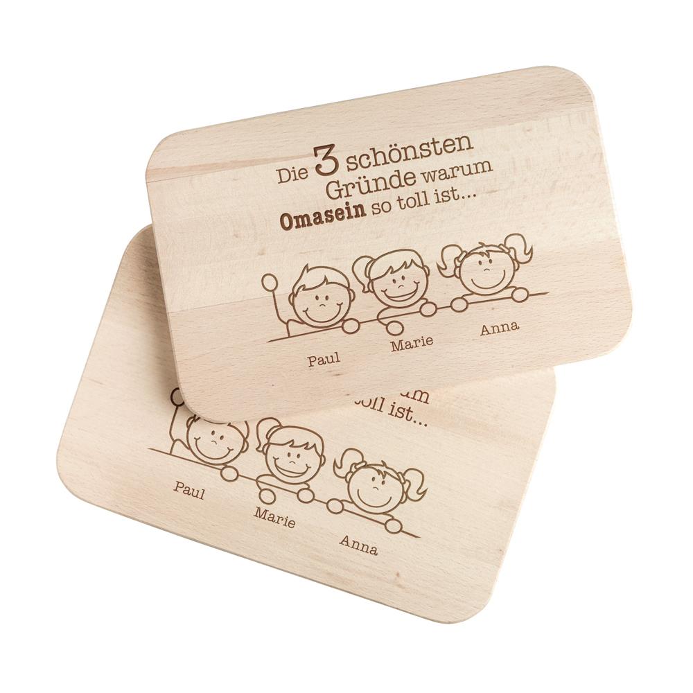 Frühstücksbrett - 2er Set - Gute Gründe Oma & Opa - Personalisiert