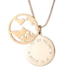 Kette mit Anhänger Welt - Geokoordinaten - Gold