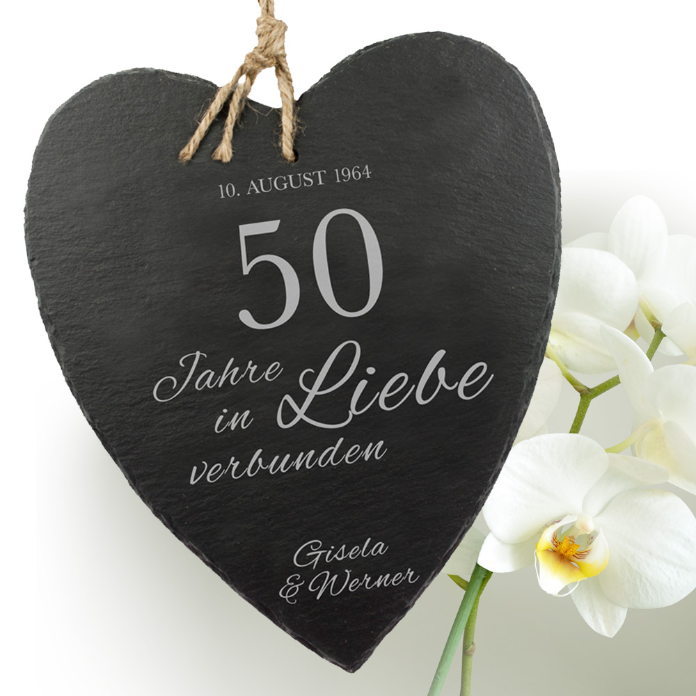 Schieferherz - Goldene Hochzeit - Personalisiert