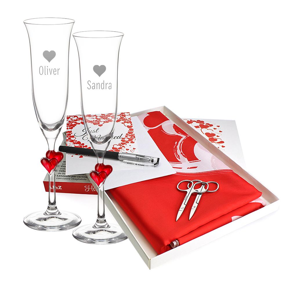 Hochzeitsset - 2 gravierte Sektgläser mit roten Herzen und Hochzeitslaken
