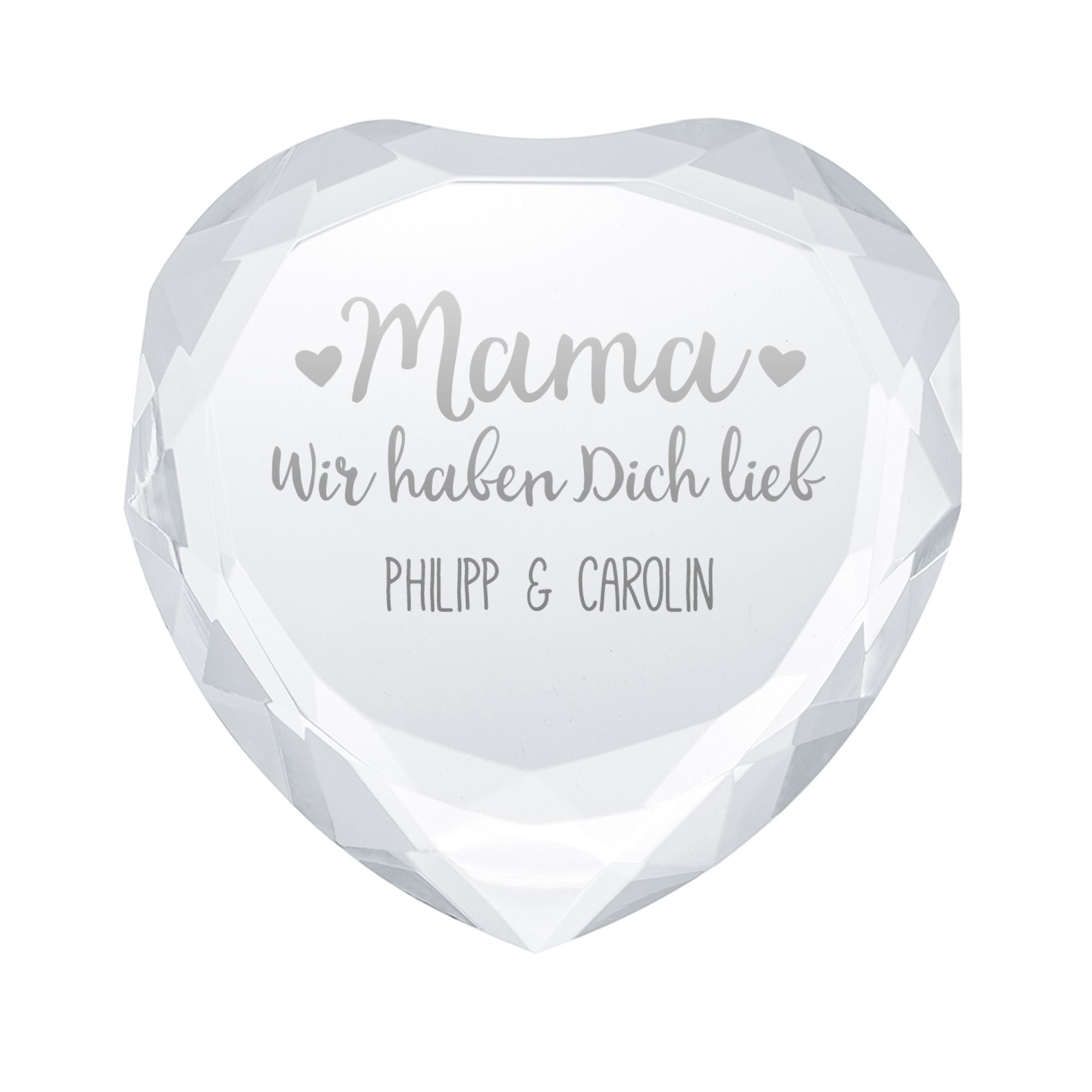 Herzkristall aus Glas für Mama - Personalisiert