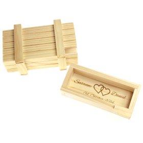 Magische Geschenkbox mit Gravur zur Hochzeit - Helles Holz