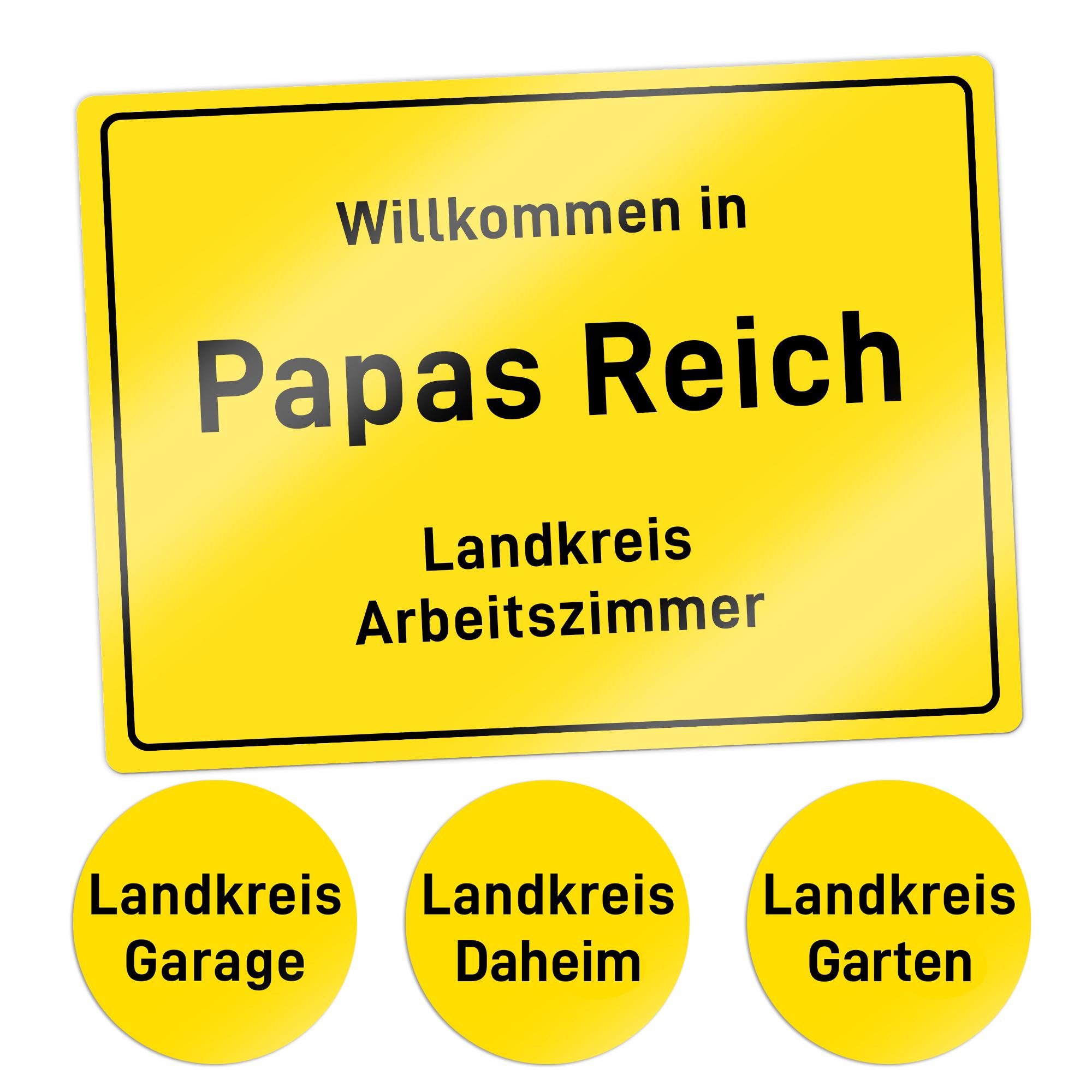 Ortsschild - Papas Reich - Personalisiert