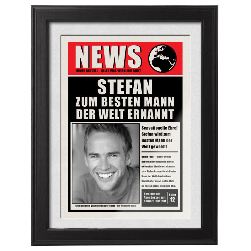 Bild mit Rahmen - Newsflash - Bester Mann der Welt