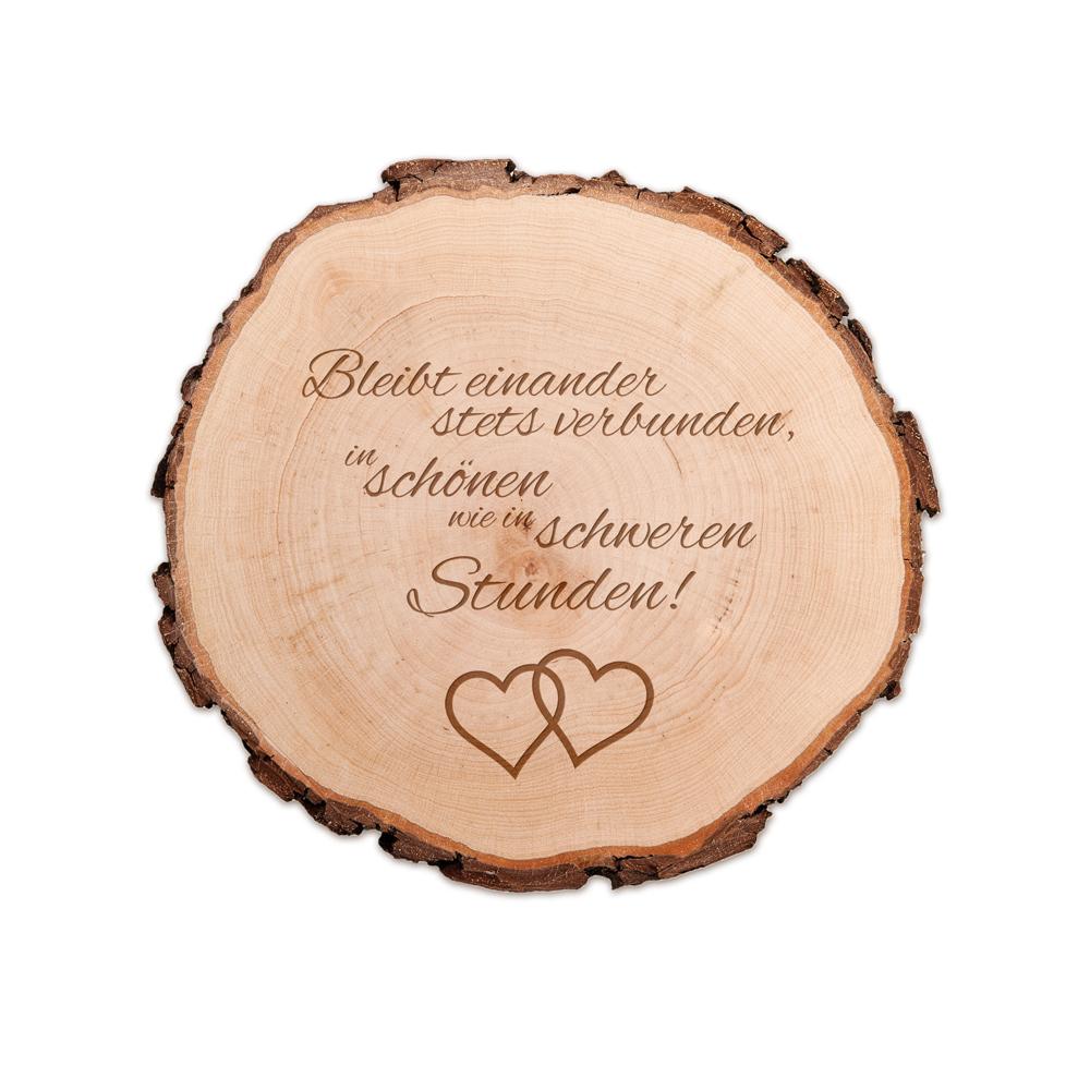 Baumscheibe mit Spruch zur Hochzeit