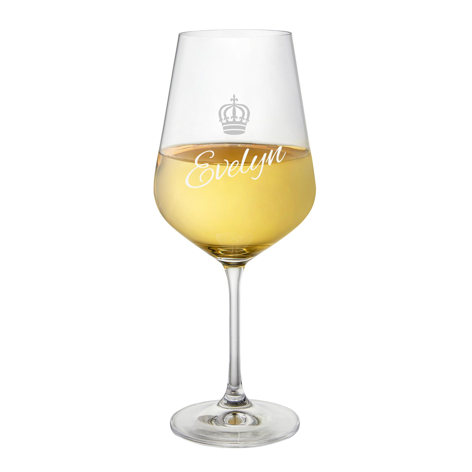 Weißweinglas mit Gravur - Krone - personalisiert
