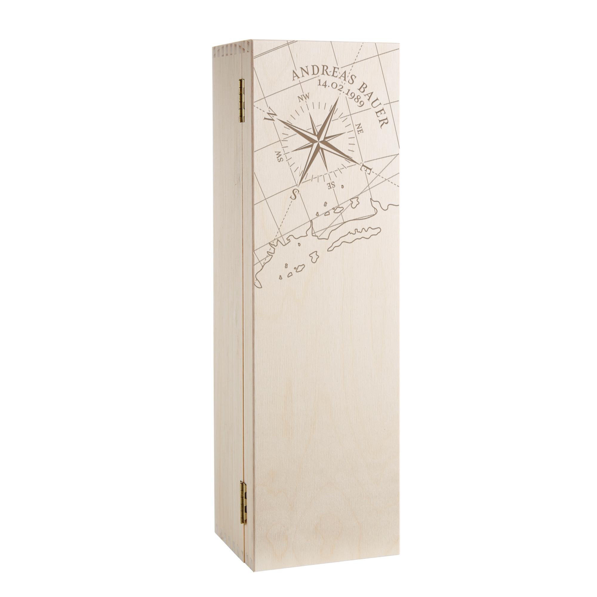 Weinkiste mit Kompass-Gravur - Personalisiert