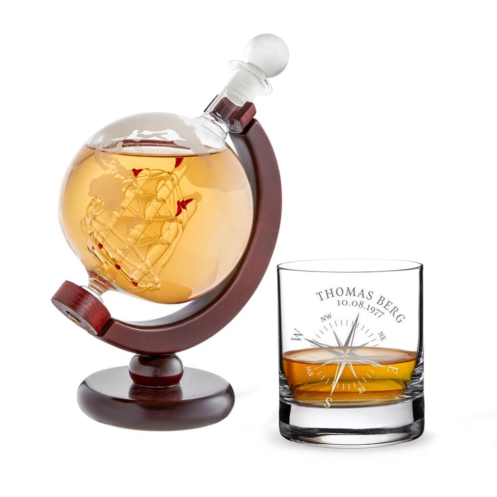 Whiskyset Karaffe Globus - graviertes Whiskyglas - Kompass