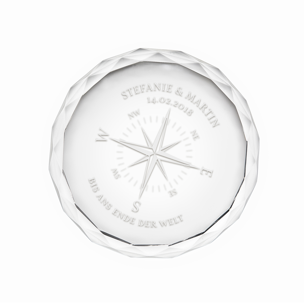 Runder Kristall aus Glas mit Gravur - Kompass der Liebe