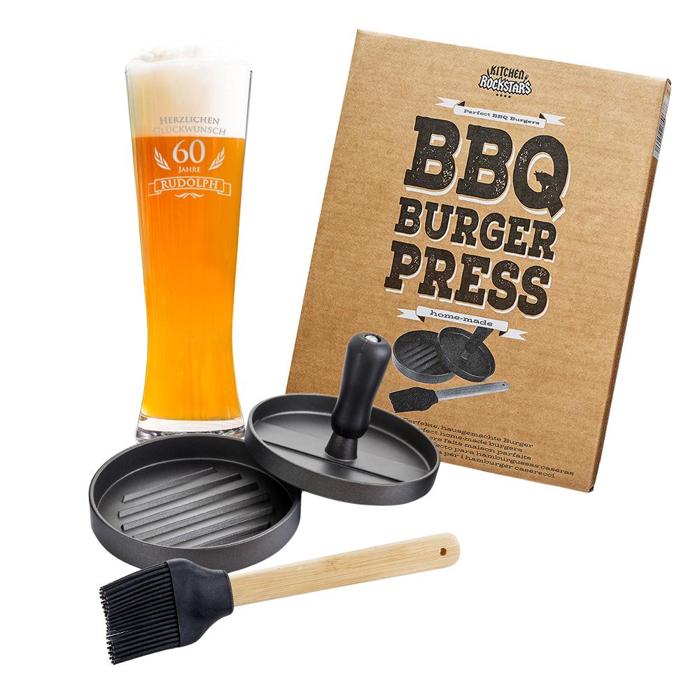 Grillset - Burgerpresse und Weizenglas zum Geburtstag