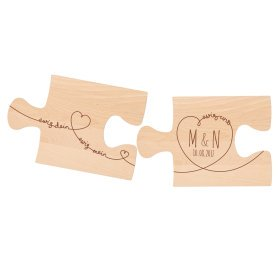 2er Set Puzzle Brett mit Gravur - Ewig dein - Personalisiert